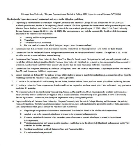 Apartment Lease Agreement Templates 9 Free Sles Exles Format Simple Apartment Lease Agreement Template