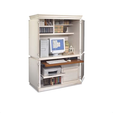 white computer armoire object moved