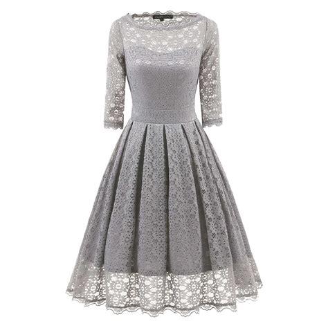 Pleated A Line Midi Dress 3 4 sleeve vintage evening sheer pleated a