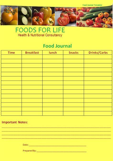 food journal template  printable word templates
