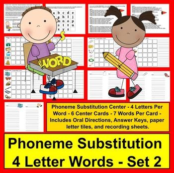 phoneme substitution literacy centers change  letter