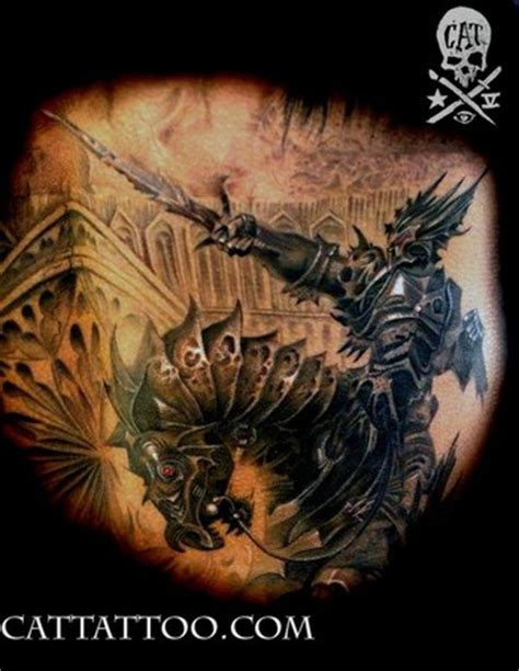 black and grey knight tattoo cat tattoo tattoos black and gray black knight