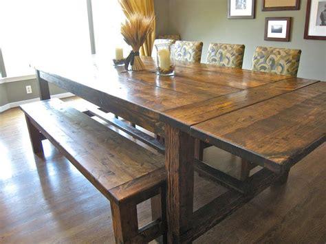 bench dining room tables barn wooden rectangle farmhouse dining room table with