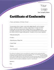 certificate of conformity template conformity exles pictures to pin on pinsdaddy