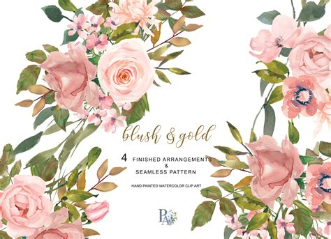 watercolor flower clipart blush gold leaves clipart by patishop thehungryjpeg