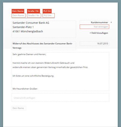 autokredit deutsche bank santander widerruf vorlage chip