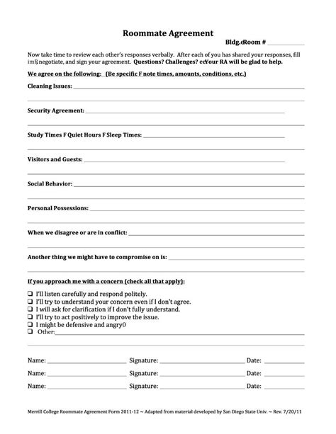 40 Free Roommate Agreement Templates Forms Word Pdf College Roommate Contract Template