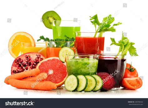 Fruit Juice For Detox Diet by Glasses Fresh Organic Vegetable Fruit Juices Stock Photo