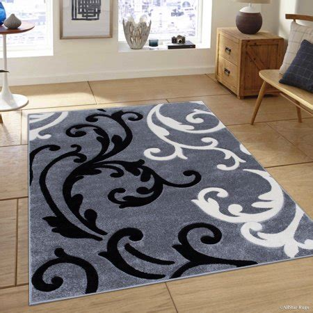 10 X 12 Black And White Geometric Rug by Grey Allstar With White And Black Floral Design Modern