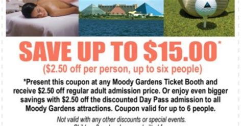 Moody Gardens Discount Tickets by 15 Coupon For Moody Gardens Coupons Discounts And Deals Gardens And Coupon