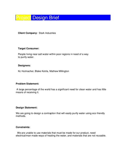 project design template project design brief template