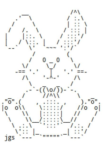 easter bunnies and chocolate rabbits in ascii text art