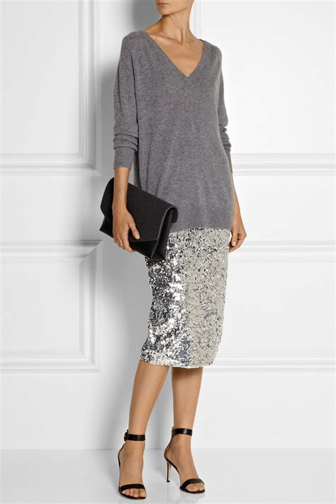 by malene birger poliio sequined pencil skirt in metallic