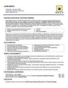 Building Manager Sle Resume by Roofing Supervisor Resume Sle Template