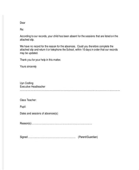 truancy letter template truancy letter to parents 58 images client print