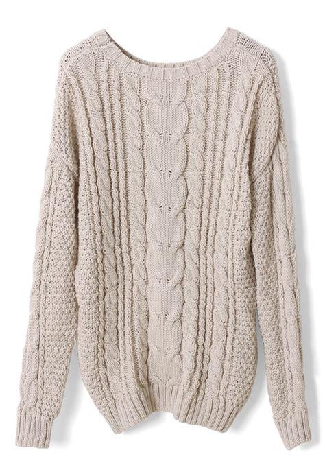 Sweater Rajut Cable Saku Krem Knitted Sweater Winter Sweater ivory cable knit sweater wish list