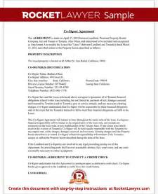 responsibility contract template co signer agreement rental lease cosigner with sle