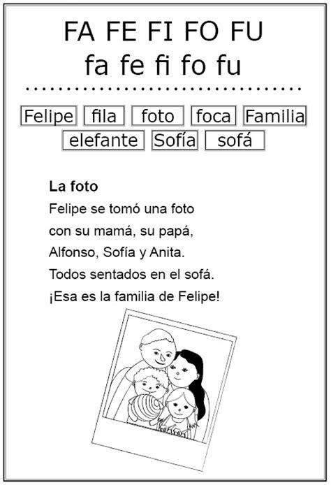 Lecturas Letra F | lectura y copia letra f lectoescritura pinterest