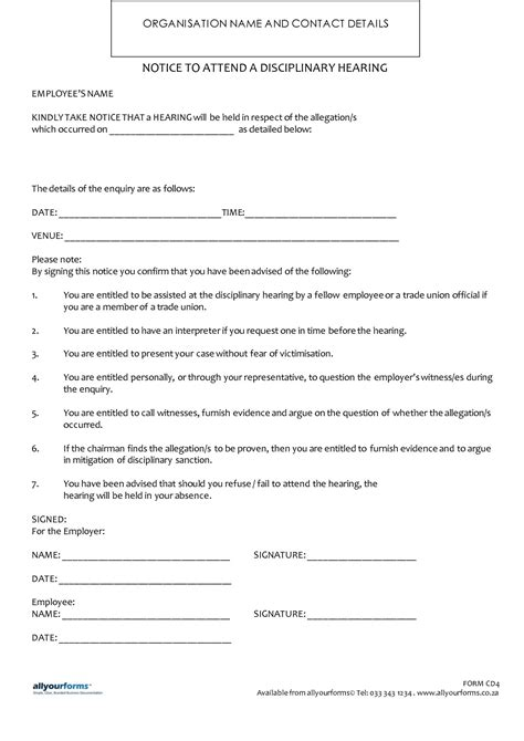 Disciplinary Template notice to attend a disciplinary hearing allyourforms