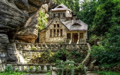 stone cottage in the woods wood and stone house exteriors storybook houses caelum et terra