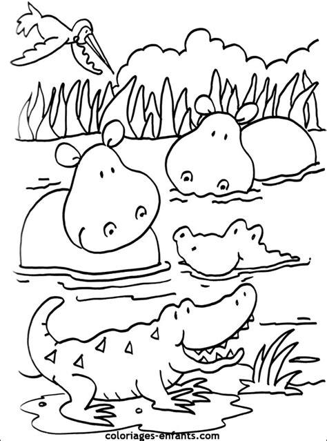 Coloriage D Hippopotames 224 Imprimer De La Rubrique Animaux Coloriage Animaux Savane A ImprimerL