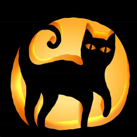 black cat pumpkin carving stencil download free template
