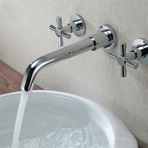 Modern Wall Mounted Bathroom Faucets Chrome Brass Modern Wall Mounted 3 Bath Faucet Tap