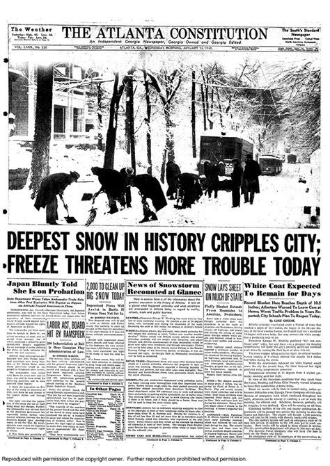 Worst Snowstorm In History Atlanta Weather City S Worst Snowstorm Wasn T