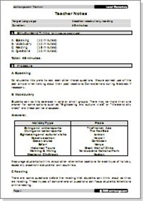 sle lesson plan template for elementary grammar curriculum school program esl lounge premium