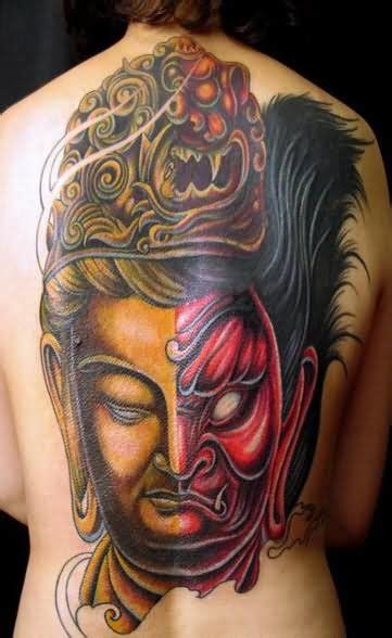 japanese tattoo good vs evil good and evil tattoo on back