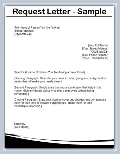 request letter format sle request letters writing professional letters