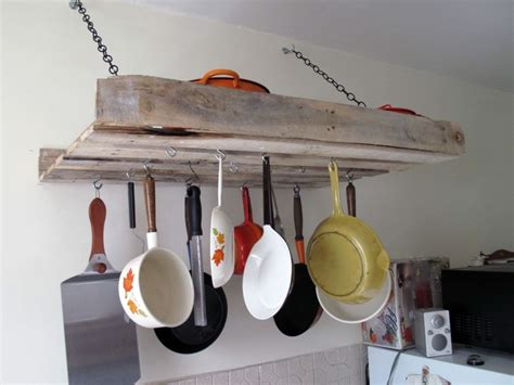 Wooden Pot And Pan Rack Diy Furniture Projects Made Of Whole Pallets
