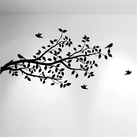 Tree And Bird Wall Stickers Vinyl Decals