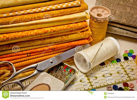 tools for patchwork in yellow royalty free stock photos