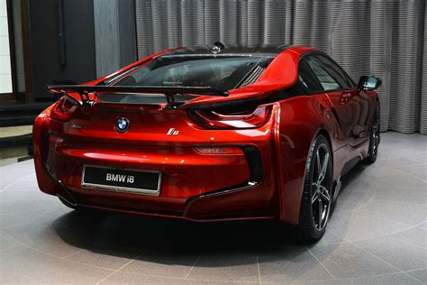 modified bmw i8 this custom lava red bmw i8 is dripping carscoops