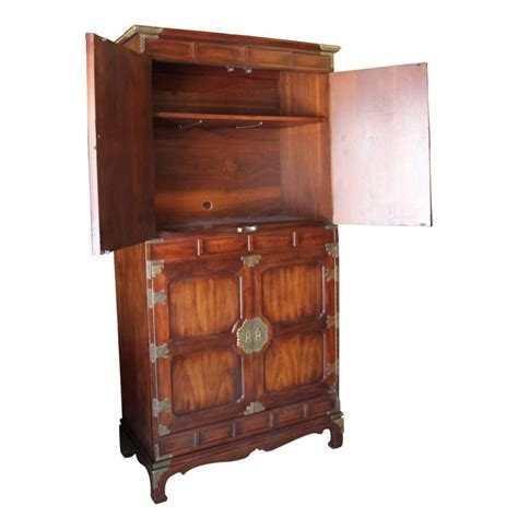 large wardrobe cabinet large modern henredon walnut cabinet wardrobe with brass