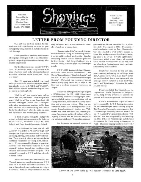the center for wooden boats valley street seattle wa shavings volume 18 number 1 february 1996 by the center