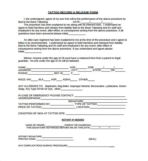 tattoo waiver free printable guardianship forms the child custody