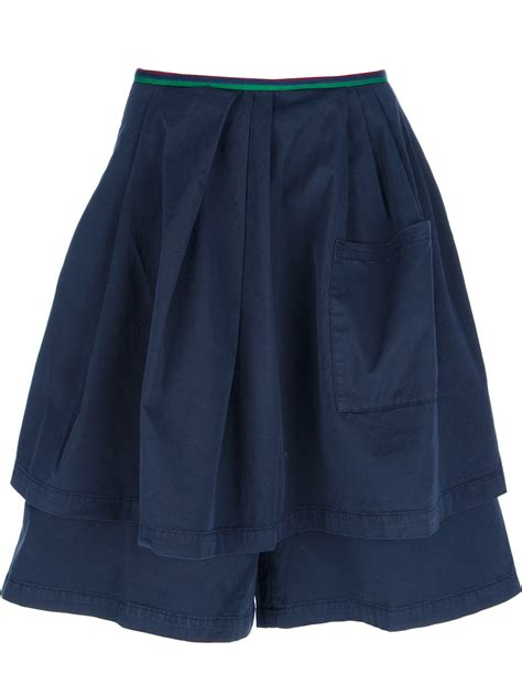 pence layered culotte skirt in blue lyst