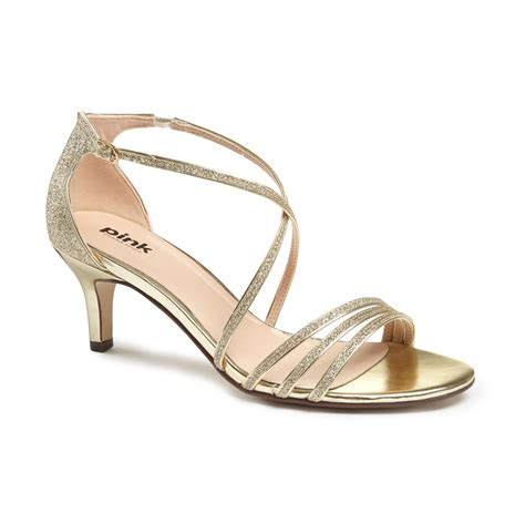 gold strappy mid heel sandals paradox pink isla strappy mid heel sandals gold