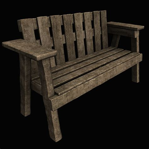 bench models 3d old park bench model