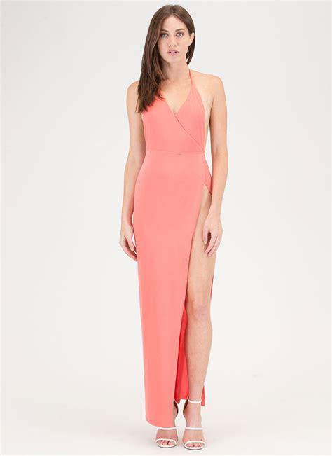 Slit Dress high society slit halter maxi dress black coral gojane
