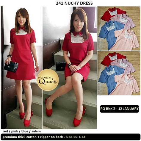 Po Dress Import High Quality Premium A42410 nuchy dress supplier baju bangkok korea dan hongkong premium quality import thailand