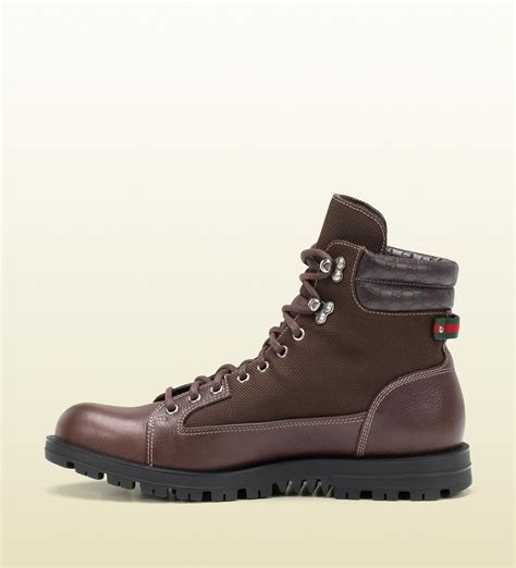 mens gucci boots gucci trek boot with signature web detail in brown for