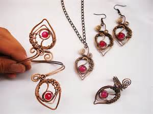 Handmade Unique Jewellery - handmade set wire wrapping with copper wire and