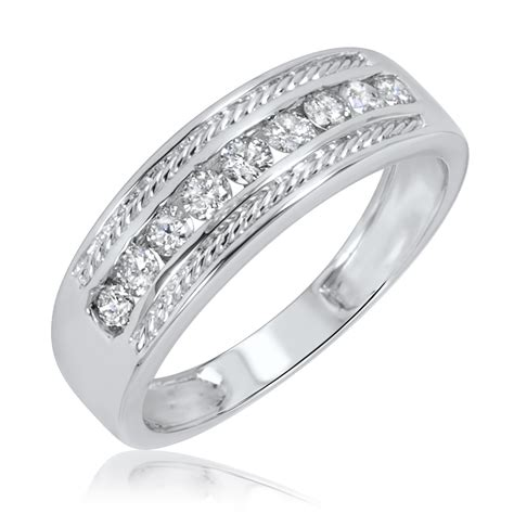 3 4 carat t w and s wedding rings 14k
