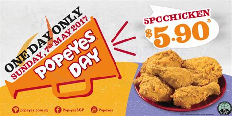 Popeyes Chicken Gift Cards - popeyes 5pcs chicken for 5 90 one day deal returns on sunday 7 may 2017