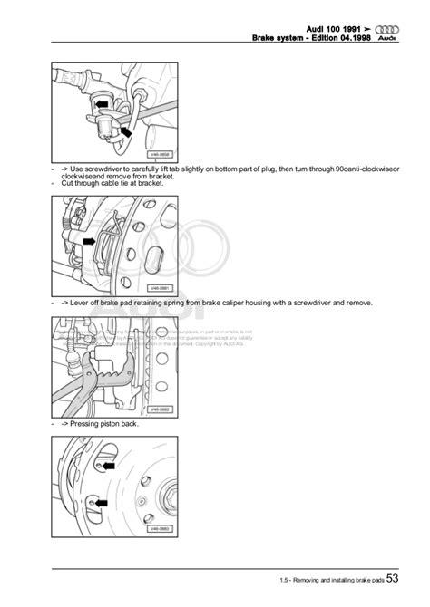 service manual 1991 audi 100 remove and replace rear hub assembly remove 1991 audi 100 brake