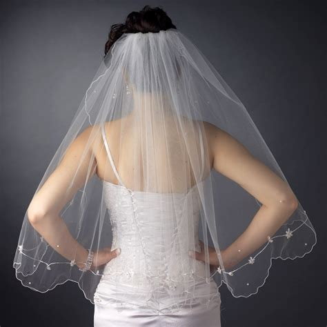 flower pattern veil double layer bridal veil with floral pattern accents