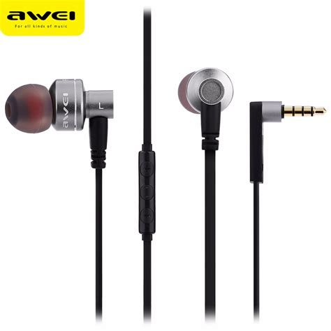 Awei Earphone Metal Design Dengan Microphone 10ty Awei Es 10ty Noise Isolation In Ear Earphones Gray